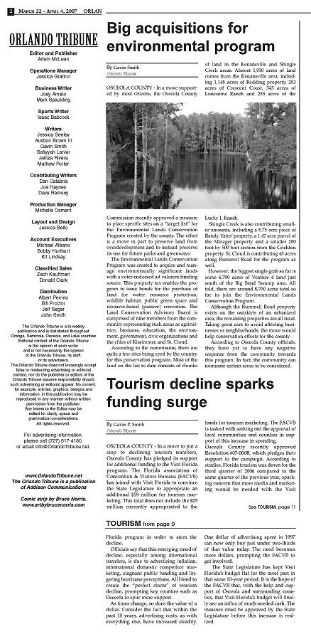 Big Acquisitions for Environmental Program - Orlando Tribune 2007 Gavin P Smith