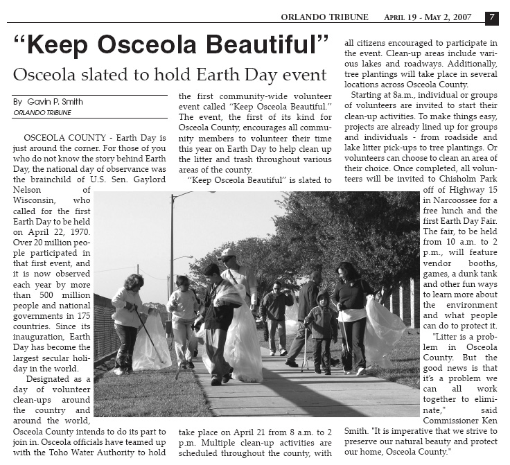 Orlando Tribune - Osceola Beautiful 2007 Gavin P Smith
