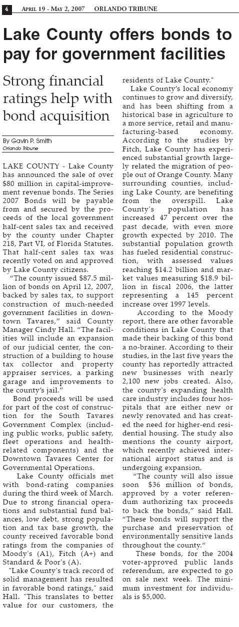 Orlando Tribune Lake County Bonds
