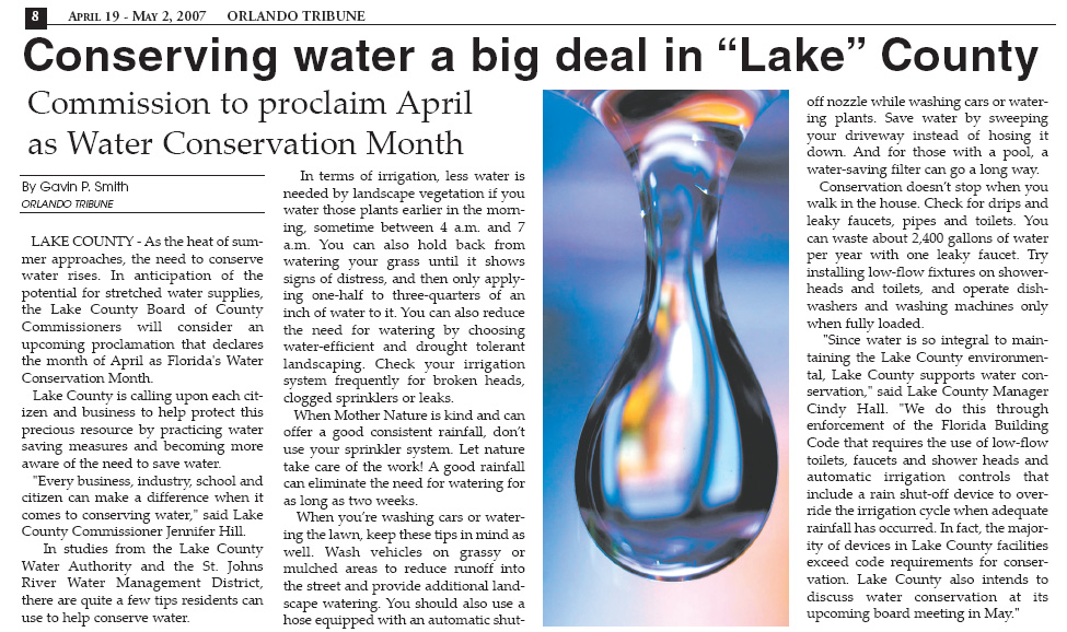 Conserving Water a Big Deal in Lake County - Orlando Tribune 2007 - Gavin P Smith