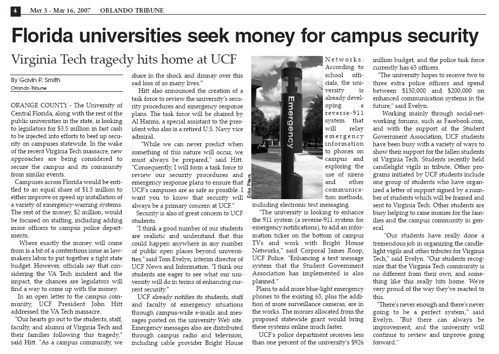 Orlando Tribune - Virginia Tech UCF 2007 Gavin P Smith