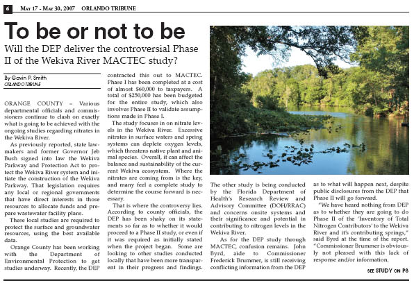 To Be Or Not To Be – Will the DEP Deliver Controversial Phase II of the Wekiva River MACTEC Study?