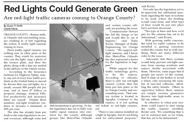 Orlando Tribune Red Light Program 2007 Gavin P Smith