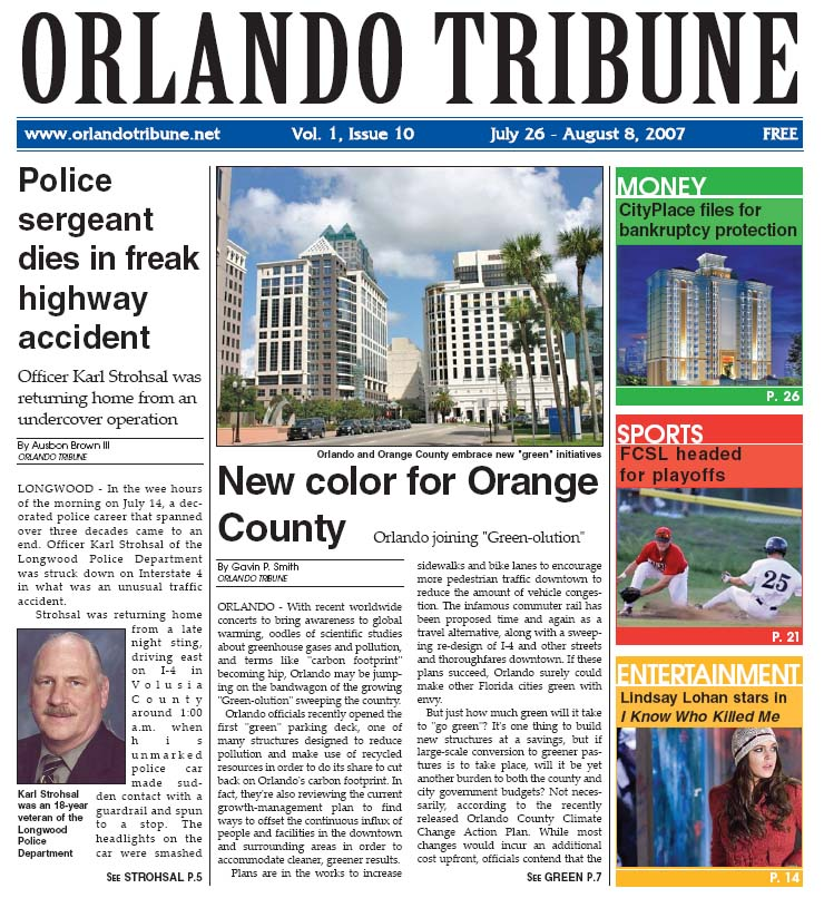 Orlando Tribune - Greenolution Cover Story 2007