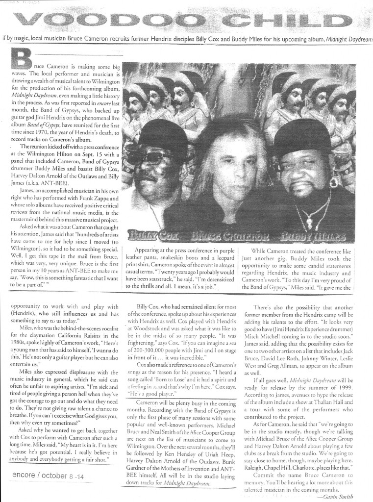 Gavin P Smith - Encore Magazine - Bruce Cameron, Billy Cox, Buddy Miles Tour 1999