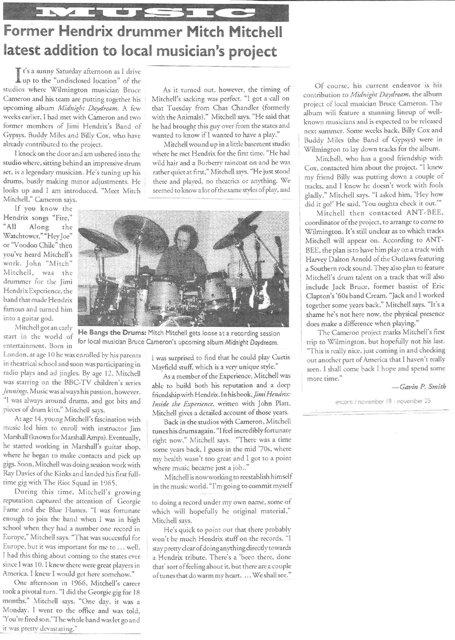 Gavin P Smith - Encore Magazine 1999 - Mitch Mitchell