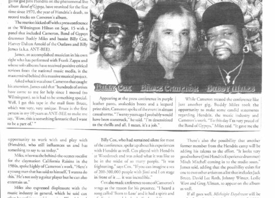 Gavin P Smith - Encore Magazine - Bruce Cameron, Billy Cox, Buddy Miles Tour 1999