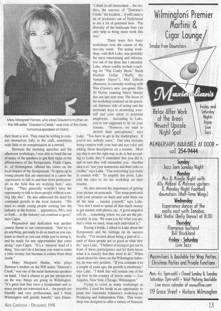 1998 Fall Cinema Symposium 3 - Wilmington, NC