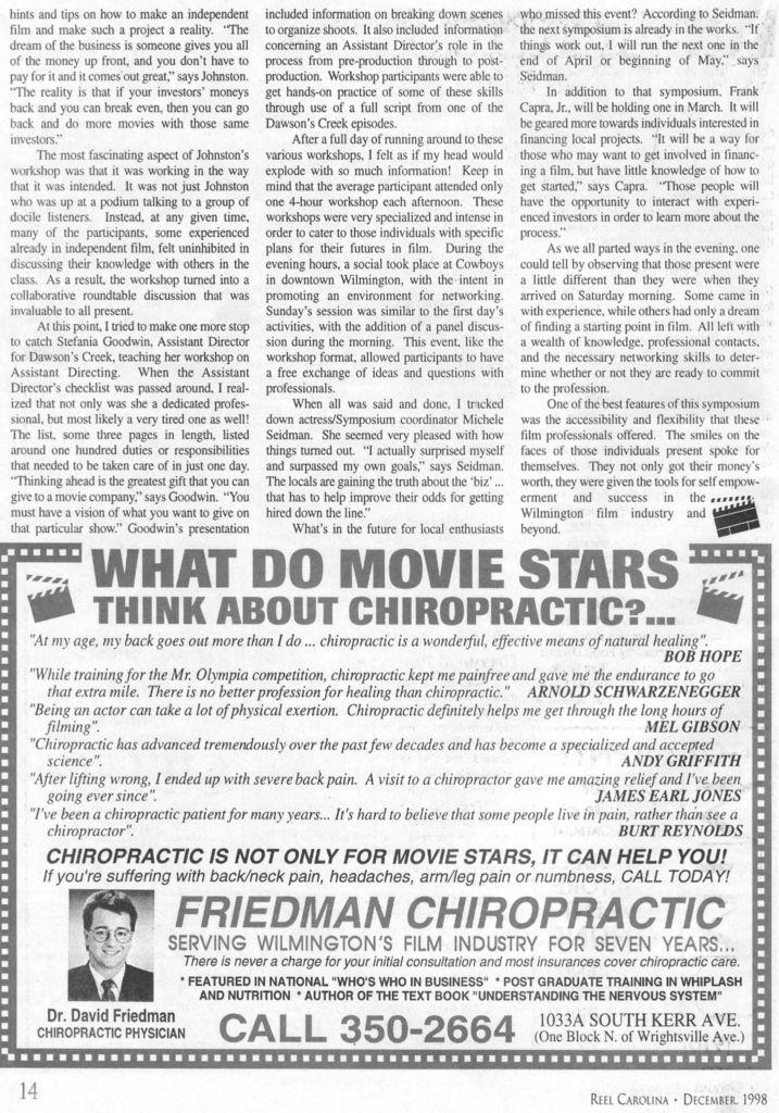 1998 Fall Cinema Symposium 4 - Wilmington, NC