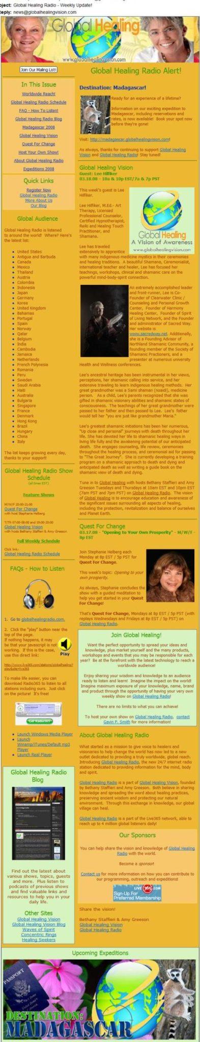 Global Healing Newsletter