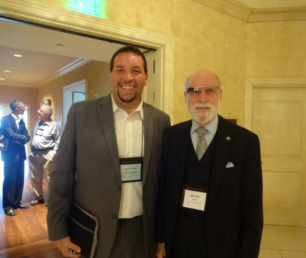 Gavin P Smith with Vint Cerf of Google