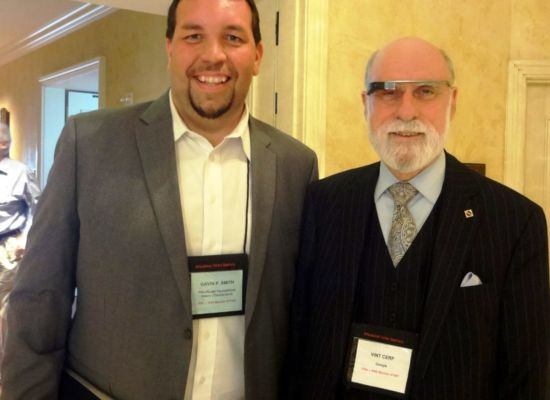 2013 - Gavin P Smith w Google executive Vint Cerf - Father of the Internet - Future In Review Conference - Laguna Beach CA